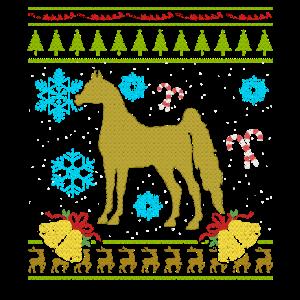 Hässliches Weihnachtsstrickjacke-Hemd Arabischer Reiter