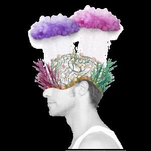 Männerkörper mit Hirn und Verstand Regen aus Wolke