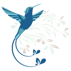 Blauer Kolibri mit Ornamente