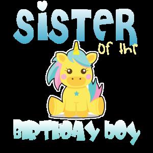 Einhorn-Schwester des Geburtstagsjungen