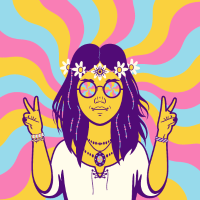 Hippy Girl Hippie Vintage Retro Flower Psychedelic