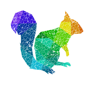 Buntes Eichhörnchen Polygon Nüsse