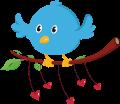 Motif Oiseau et Coeurs