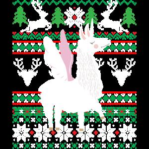Lama Ugly Christmas Alpaka Einhorn Weihnachten