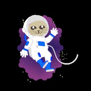 Süße Katze Astronaut Weltall Schweben