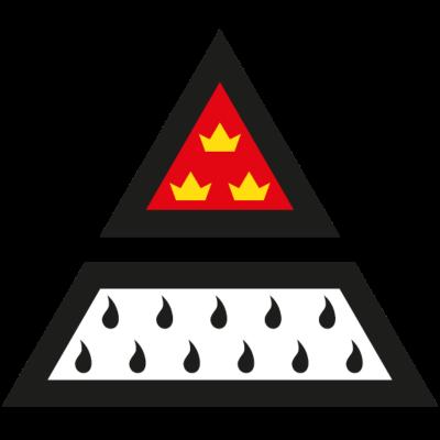 Köln Wappen Dreieck 4-farbig Digitaldruck - Kölner Wappen neu interpretiert. Dieses Design ist nicht für Plottdruck geeignet. Dafur ist es im Digitaldruck auch auf farbigen Hintergründen druckbar, weil die Flammen hier weiß hinterlegt sind. -