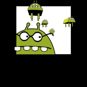 lustiges Alien, Ufo, Science Fiction Shirt