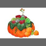 Bouquet d'automne : Succulentes et citrouille
