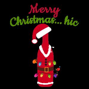 Prosecco-Flasche lustiger Weihnachtshut beleuchtet Weihnachten