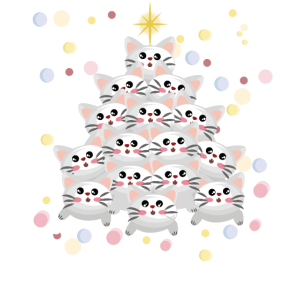 Katzen als Weihnachtsbaum