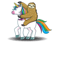Faultier reitet Einhorn Sloth Unicorn