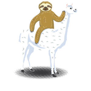 Sloth riding LLama Faultier reitet Lama Alpaka