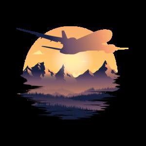 Sonnenuntergang Flugzeug Berge travel