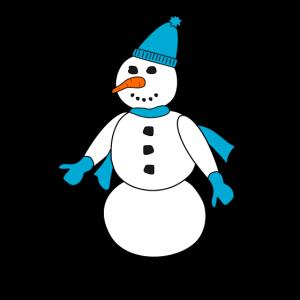 Schneemann mit blauen Accessoires