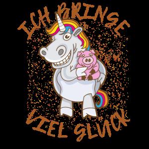 Glücksbringer Unicorn Glück Glücksschwein Spruch