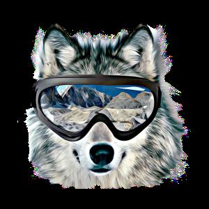 Lustiges nettes Wolfgesicht mit Gläsern 3D