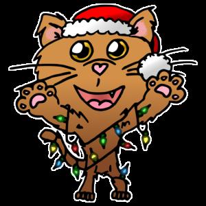 niedliche Katze mit Lichterkette und Mütze