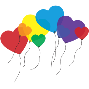 balloon hearts rainbow
