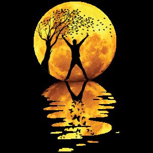 Mond Mensch Schatten Vollmond Spiegelung