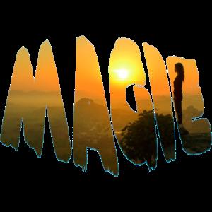 magie schriftzug mädchen mit sonnenuntergang