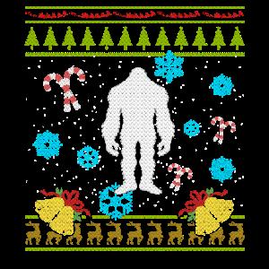 Hässliches Weihnachtsstrickjacke-Hemd Sasquatch Weihnachten
