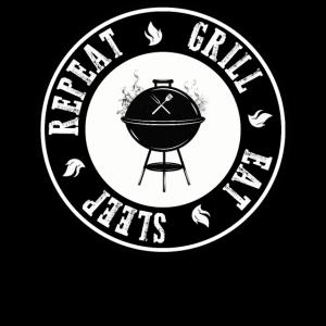 Eat Sleep Grill Repeat BBQ Grillfans Geschenk