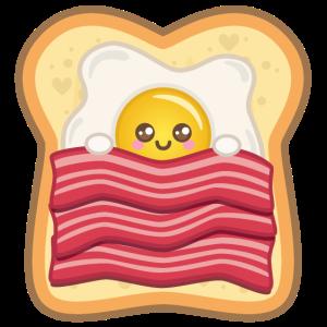 Kawaii Spiegelei mit Speck auf Toast | Ei + Bacon