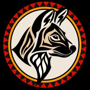 Gemaltes Wolf Emblem