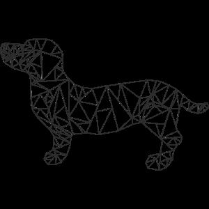 Dackel aus Dreiecken, Schwarz Weiß Skizze, Hund