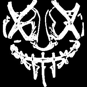 gruseliges Horror Gesicht in weiß