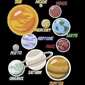 Universum Planeten Sammlung Comic Cooles Geschenk