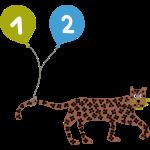 Leoparden Design mit 2 Luftballons für Zweijährige