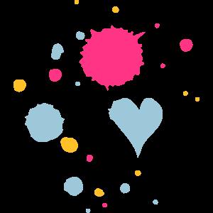 Farbkleckse,Tropfen und Herz