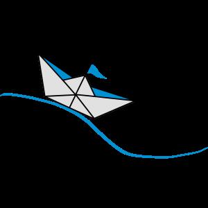 Papierboot auf der Welle