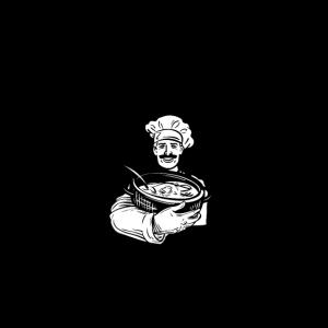 Alter Mann mit Kochschürze, Unterschätze Niemals