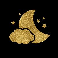 Sternenhimmel am Nachthimmel und Mond Imitat-Goldfunkeln