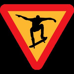 Skateboarder Strassenschild