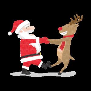 Weihnachtsmann und Rentier tanzen