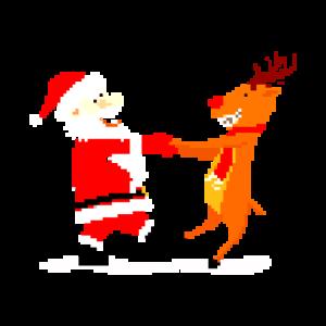 Weihnachtsmann und Rentier tanzen pixel