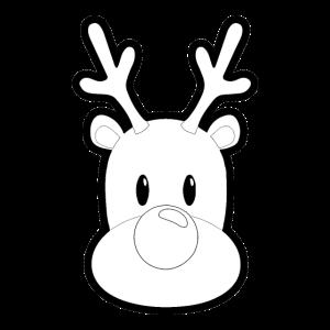 Süßes Rentier Logo Simpel schwarz weiß