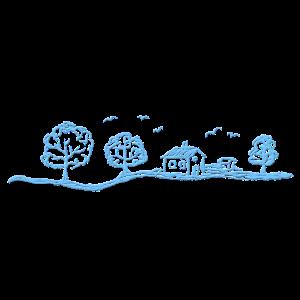 Landschaft in hellblau