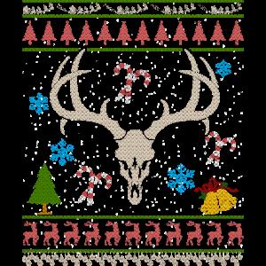 Elchjagd hässliches Weihnachtshemd Elchjäger