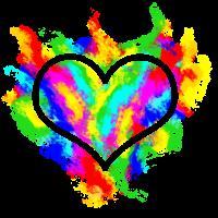 Buntes flammendes Herz Farben Feuer