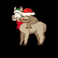 Weihnachtsmann Faultier reitet Lama Geschenk Shirt