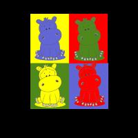 Nilpferd Bunt Pop Art - Stofftier, Plüschtier