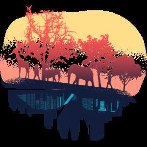 Natur Stadt Illustration Giraffe Elefant Geschenk