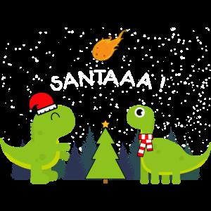 Weihnachtsdinosaurier-Weihnachtsmann kommt