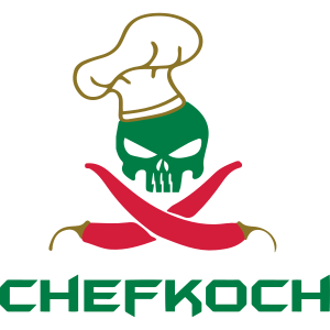 Chefkoch Totenkopf mit Chillis