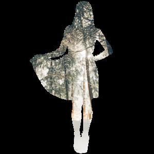 Silhouette einer Frau im Winterwald