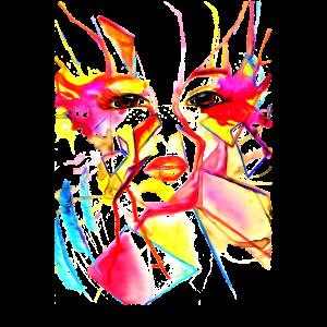Regenbogen Gesicht Öl überarbeitet